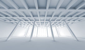 Abstract architecture, empty white room 3d. Abstract architecture background with perspective view of open space room, Blue toned 3d illustration with wide angle Stock Image