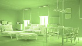 Abstract architecture interior design, modern living room, wireframe highpoly mesh construction, green. Background royalty free illustration