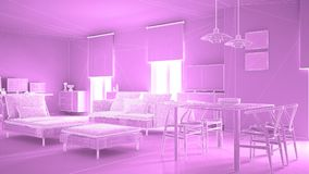 Abstract architecture interior design, modern living room, wireframe highpoly mesh construction, violet background royalty free illustration