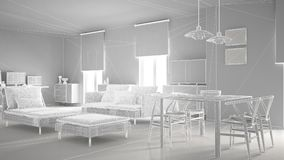 Abstract architecture interior design, modern living room, wireframe highpoly mesh construction, white. Background stock illustration
