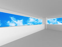 Abstract Architecture Modern Background With Blue Cloud Sky. 3d Render Illustration Royalty Free Stock Photo