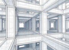 Abstract architecture perspective background. Abstract architecture perspective toned outline background. Internal space of a modern braced construction stock illustration