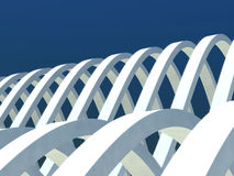 Abstract architecture on sky. Curved white lines in abstract architecture Royalty Free Stock Images