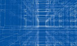 Abstract architecture. Vector. Rendering of 3d. Wire-frame style. The layers of visible and invisible lines are separated Royalty Free Stock Photos