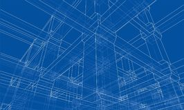 Abstract architecture. Vector. Rendering of 3d. Wire-frame style. The layers of visible and invisible lines are separated Stock Photos