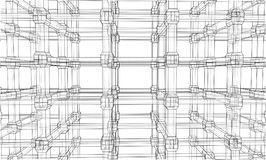 Abstract architecture. Vector. Rendering of 3d. Wire-frame style. The layers of visible and invisible lines are separated Stock Photo