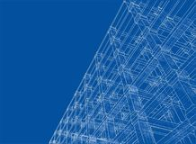 Abstract architecture. Vector. Rendering of 3d. Wire-frame style. The layers of visible and invisible lines are separated Royalty Free Stock Image