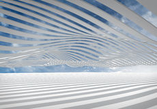 Abstract architecture wave stripes background. Abstract architecture 3d wave stripes against the cloudy sky Stock Images