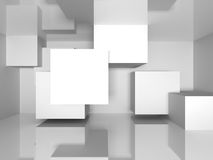 Abstract Architecture White Blocks Background. 3d Render Illustration Stock Photo