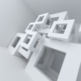 Abstract architecture white building construction. Abstract white architecture 3d render background Stock Images