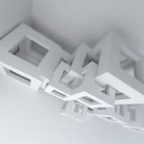 Abstract architecture white building construction. Abstract white architecture 3d render background stock illustration