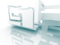 Abstract Architecture White Building Design Background. 3d Render Illustration Royalty Free Stock Photos