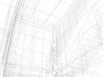 Abstract archticture. Wire-frame building on the white background stock illustration