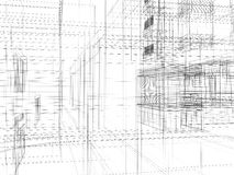 Abstract archticture. Wire-frame building on the white background Stock Image