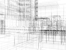 Abstract archticture. Wire-frame building on the white background vector illustration