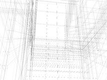 Abstract archticture. Wire-frame building on the white background Stock Images