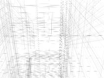 Abstract archticture. Wire-frame building on the white background Royalty Free Stock Photography