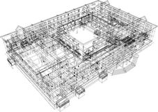 Abstract archticture. Wire-frame building on the white background. EPS 10 format stock illustration