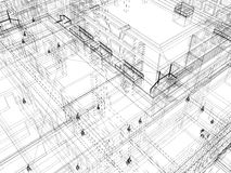 Abstract archticture. Wire-frame building on the white background. EPS 10 format royalty free illustration