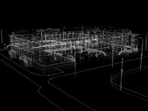 Abstract archticture. Wire-frame render on black background Royalty Free Stock Photos