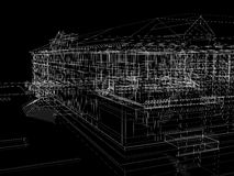 Abstract archticture. Wire-frame render on black background Stock Images