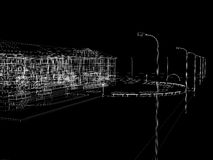 Abstract archticture. Wire-frame render on black background Royalty Free Stock Image
