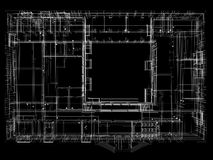 Abstract archticture. Wire-frame render on black background Stock Photos
