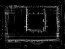 Abstract archticture. Wire-frame render on black background Royalty Free Stock Photography