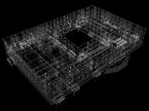 Abstract archticture. Wire-frame render on black background Royalty Free Stock Photo