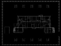 Abstract archticture. Wire-frame render on black background stock illustration