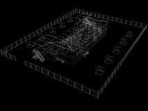 Abstract archticture. Wire-frame render on black background royalty free illustration