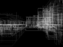 Abstract archticture. Wire-frame render on black background Royalty Free Stock Images