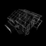 Abstract archticture. Wire-frame render on black background Stock Image