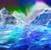Abstract arctic landscape with mountains, sea and aurora. Panoramic winter landscape with glaciers, ocean and frozen peaks Royalty Free Stock Photo