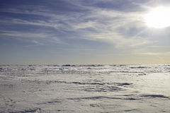 Abstract Arctic landscape. snow plain and sky Royalty Free Stock Photo
