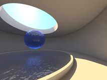 Abstract arhitecture interior. Abstract arhitecture circle interior with water and sphere Royalty Free Stock Photos