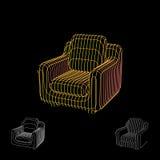 Abstract armchair carcass. Isolated on black background. Vector. Abstract armchair carcass. Isolated on black background.Vector outline illustration Stock Photos