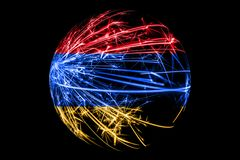 Abstract Armenia sparkling flag, Christmas ball concept isolated on black background.  vector illustration