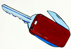 Abstract army knife. Original abstract water color and  hand drawn painting or   sketch of  a swiss army knife in the shape of a key Royalty Free Stock Photo