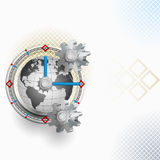 Abstract arrangement with gear and clock. Three dimensions artistic design in elaborate arrangement with gear and clock, world imagined like a mechanism.Abstract Stock Image