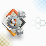 Abstract arrangement with gear and squares. Three dimensions artistic design and elaborate arrangement with gear and squares.Abstract background for office and vector illustration