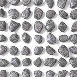Abstract array made of rocks 3D. Render illustration isolated on white background Stock Photography