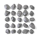 Abstract array made of rocks 3D. Render illustration isolated on white background Stock Images
