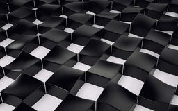Abstract array of shinny black and white polygons. 3d render. Ing Stock Photo