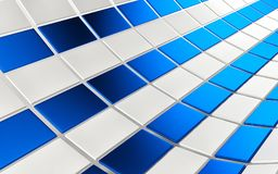Abstract array of shinny blue and white cubes on white background. 3d render Royalty Free Stock Photo