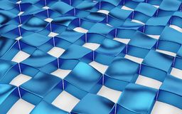 Abstract array of shinny blue and white polygons. 3d render Stock Images