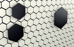 Abstract array of shinny white and black polygons. 3d render. Ing Stock Photos