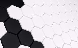 Abstract array of shinny white and black polygons. 3d render. Ing Royalty Free Stock Image
