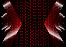 Abstract Arrow backdrop with hexagon grid red color  background Stock Photo