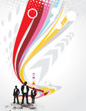 Abstract arrow background. Abstract rainbow wave line background with standing businessman . Vector illustration Royalty Free Stock Photo